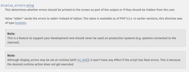 Die Warnung in der PHP-Doku zu display_errors ist angesichts des<br>Risikos nicht sehr deutlich. (Screenshot: Hanno Böck)