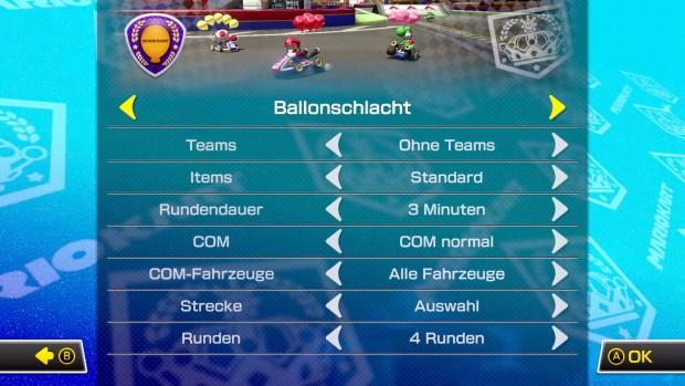 Die Einstellungen für die Ballonschlacht in Mario Kart 8 Deluxe (Screenshot: Michael Wieczorek/Golem.de)