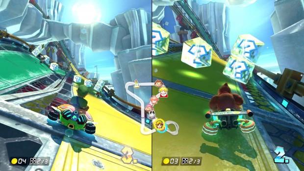 Spieler zwei nimmt gleich zwei Extras auf einmal auf. (Screenshot: Michael Wieczorek/Golem.de)