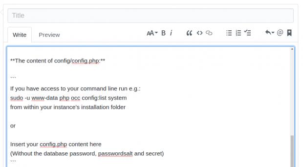 So bittet Owncloud seine Nutzer um den Inhalt von Konfigurationsdateien. (Hanno Böck/Golem.de)