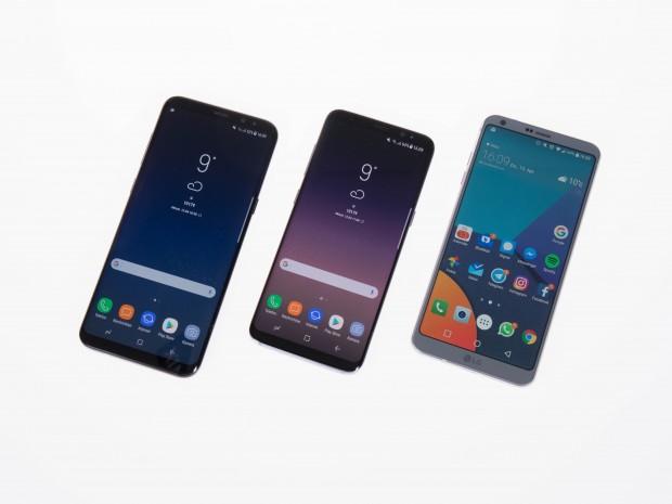 Von links nach rechts: das Galaxy S8+, das Galaxy S8 und das LG G6 (Bild: Martin Wolf/Golem.de)
