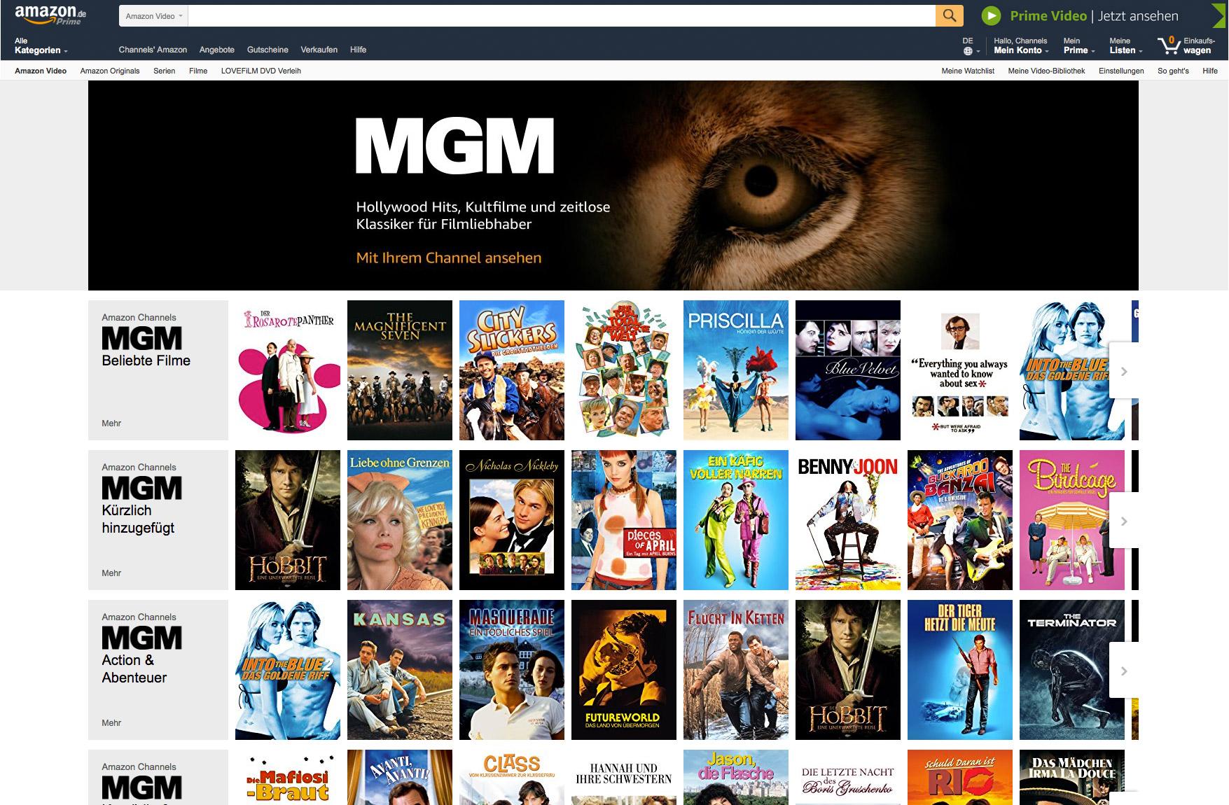 Amazon Channels: Prime Video erhält Pay-TV-Plattform mit Live-Fernsehen - Der MGM-Channel von Amazon Video (Bild: Amazon)