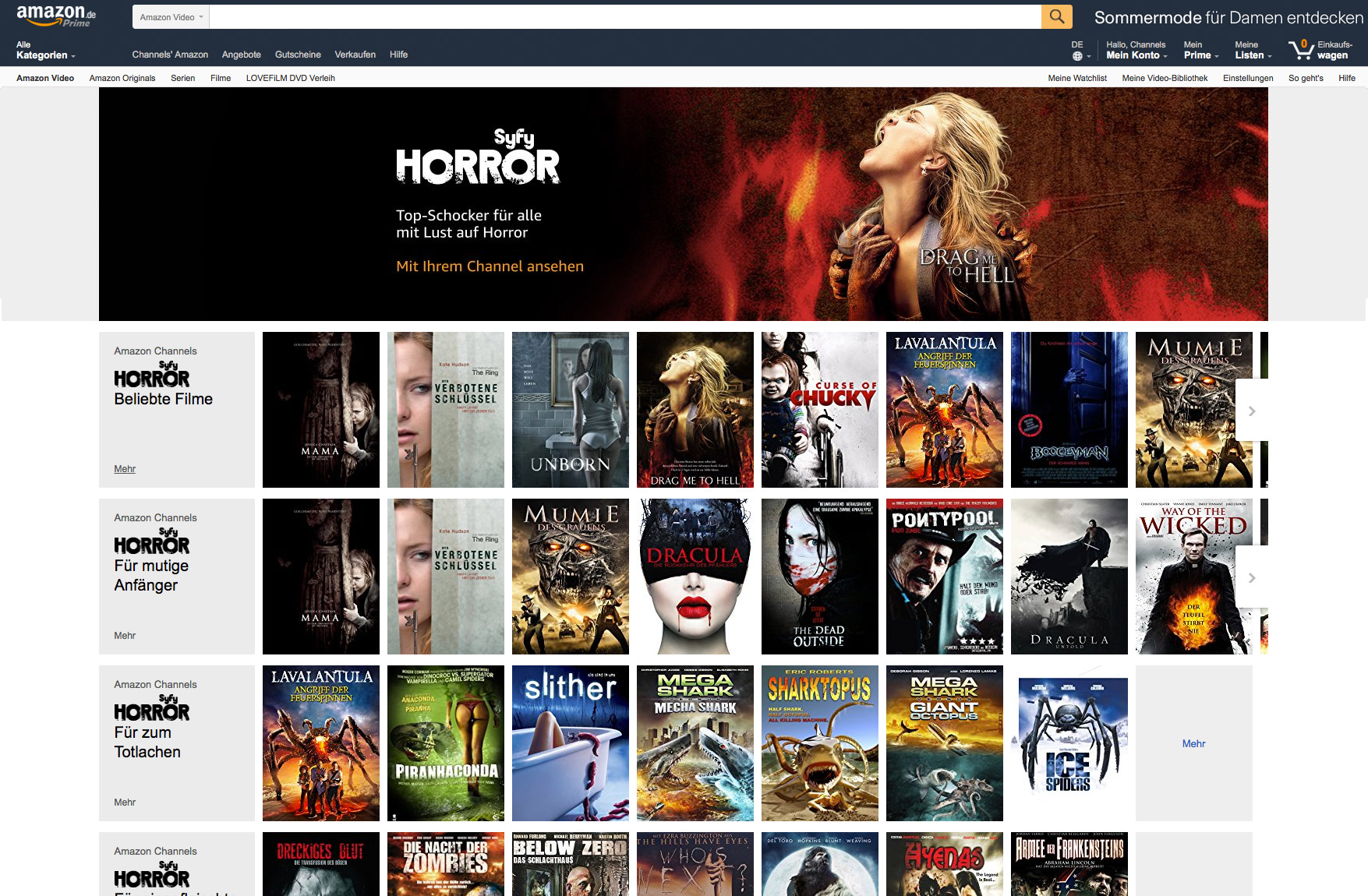 Amazon Channels: Prime Video erhält Pay-TV-Plattform mit Live-Fernsehen - Der Syfy-Horror-Channel von Amazon Video (Bild: Amazon)