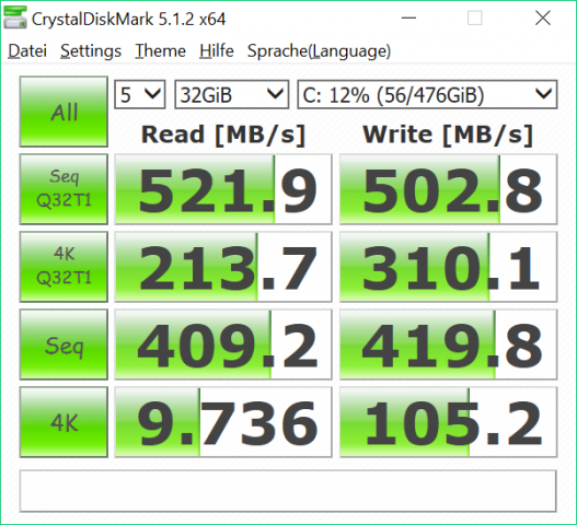 Die verbaute SSD erreicht für SATA typische Geschwindigkeiten. (Bild: Martin Wolf/Golem.de)