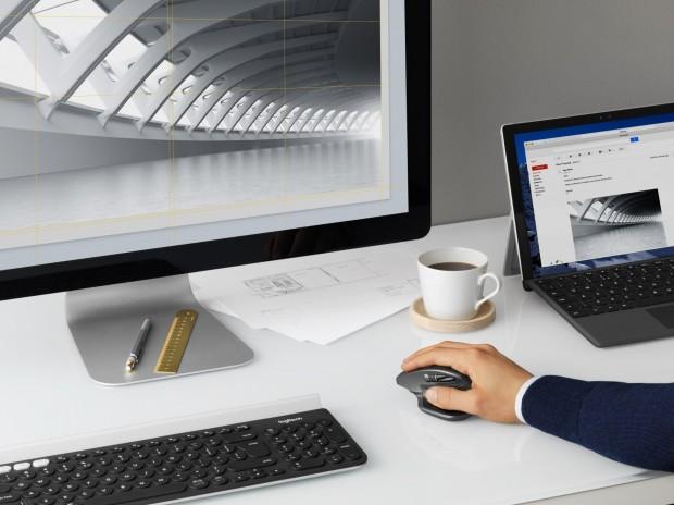 Durch simples Copy & Paste lassen sich Daten mit der MX-Serie von Rechner zu Rechner übertragen. (Bild: Logitech)