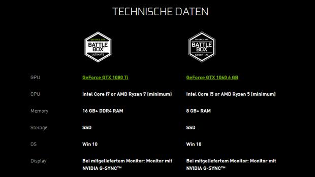 Minimale Systemvorgaben der Ultimate- und der Essential-Battlebox (Bild: Nvidia)