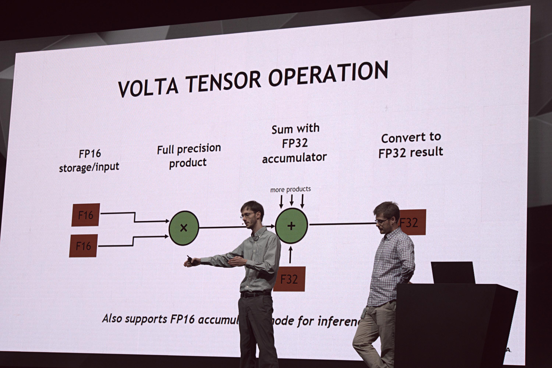 """Nvidias GV100-Chip: """"Wir sind am Limit des technisch Möglichen"""" - Die Tensor-Cores beschleunigen FP16 (Foto: Marc Sauter/Golem.de)"""