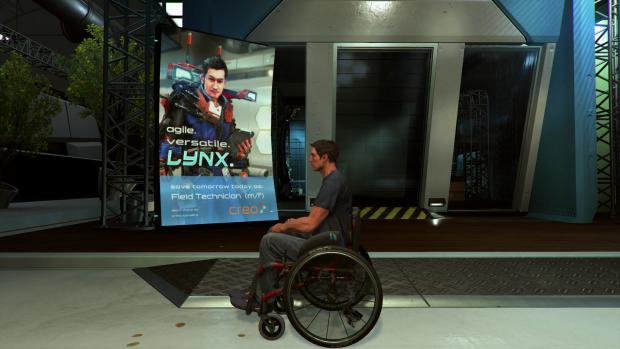 Zum Spielstart sitzt Hauptfigur Warren noch im Rollstuhl.(Bild: Deck 13/Screenshot: Golem.de)