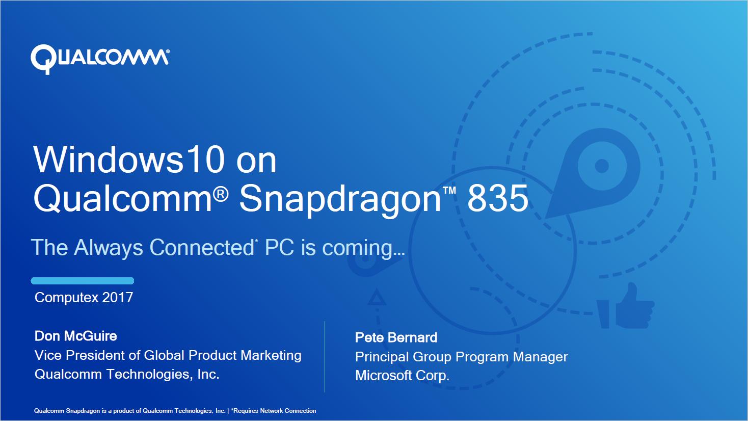 Always Connected PC: Windows 10 on ARM soll Intels x86-Ultrabooks übertreffen - Die Systeme basieren auf dem Snapdragon 835. (Bild: Qualcomm)