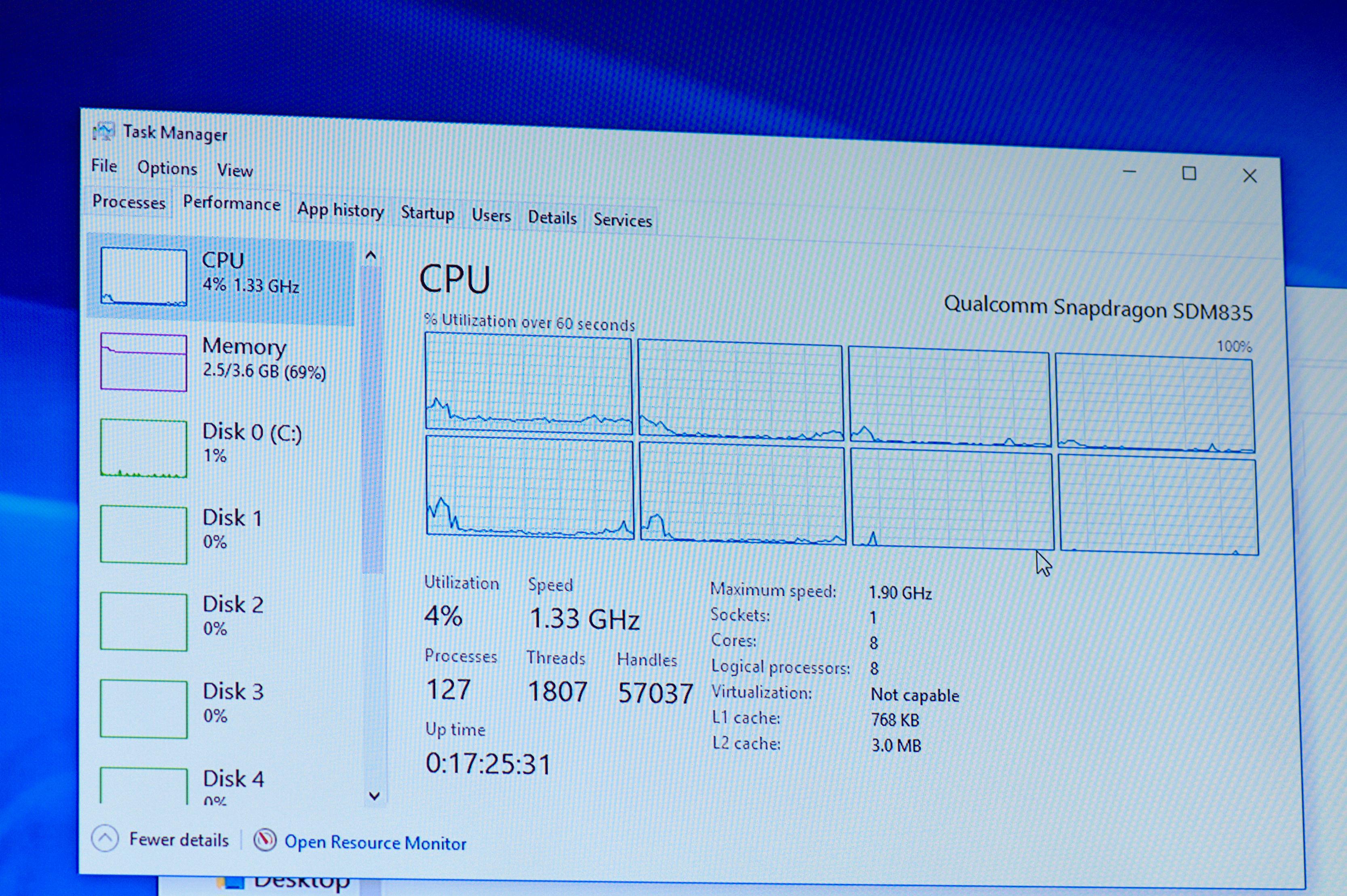 Always Connected PC: Windows 10 on ARM soll Intels x86-Ultrabooks übertreffen - Momentan erkennt Windows 10 nur den Takt des Little-Clusters. (Foto: Andreas Sebayang/Golem.de)