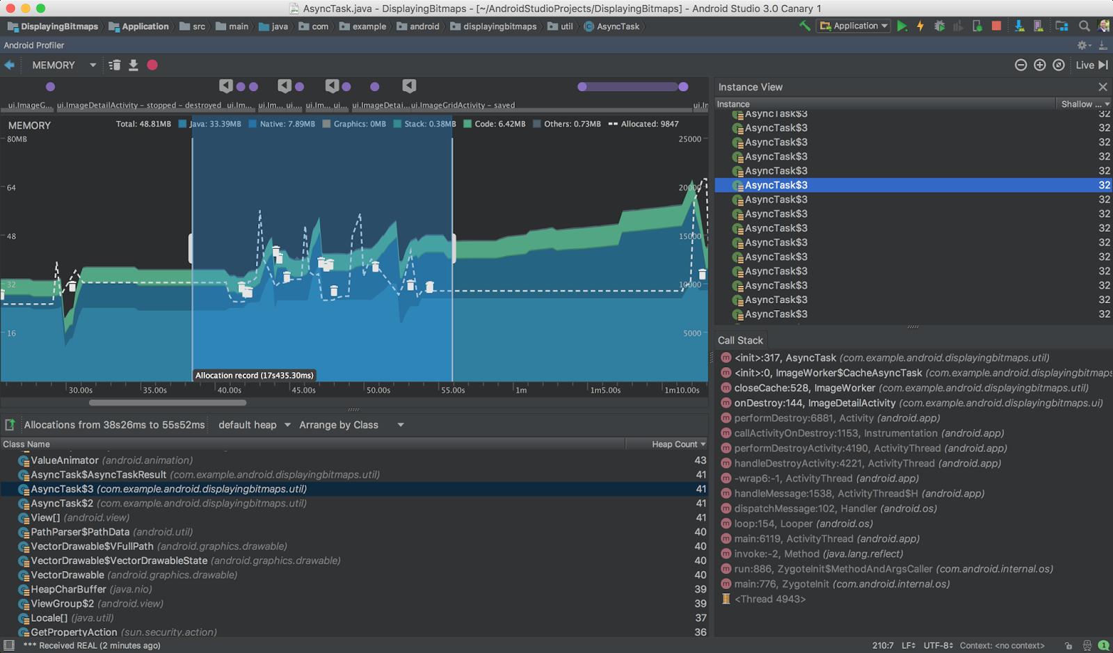 Google: Android Studio 3.0 wandelt Java- zu Kotlin-Code - ... die Auslastung des Arbeitsspeichers ... (Bild: Android Open Source Project - CC BY 2.5)