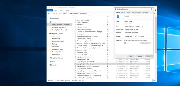 Ein kleines Icon zeigt den Status von Cloud-Dateien an. (Screenshot: Microsoft)