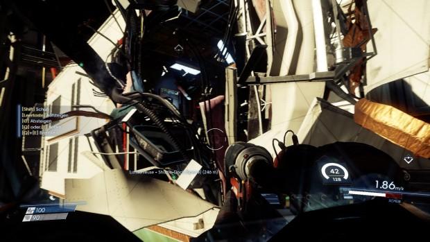 Im Verlauf erkunden Spielern auch ohne Schwerkraft das Drumherum der Raumstation. (Screenshot: Michael Wieczorek/Golem.de)