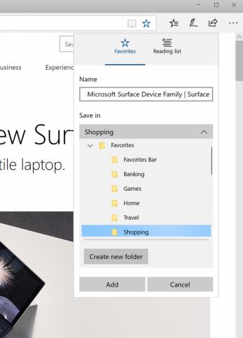 Bequemeres Ablegen von Lesezeichen in Edge (Bild: Microsoft)