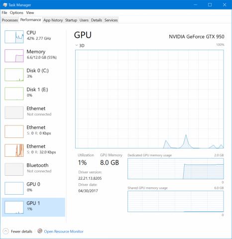 Der Taskmanager in Windows 10 zeigt die GPU-Auslastung. (Bild: Microsoft)