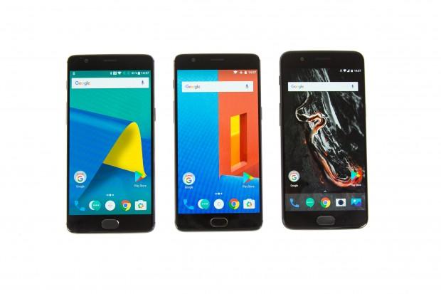Links das 3T, in der Mitte das Three und rechts das neue Five von Oneplus (Bild: Martin Wolf/Golem.de)