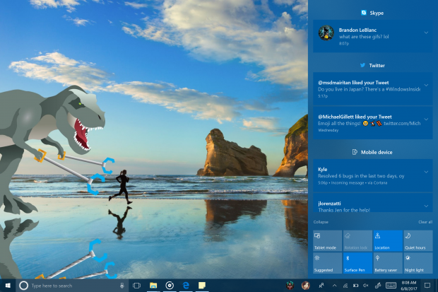 Windows Build 16215 - neu gestaltetes Info-Center (Bild: Microsoft)