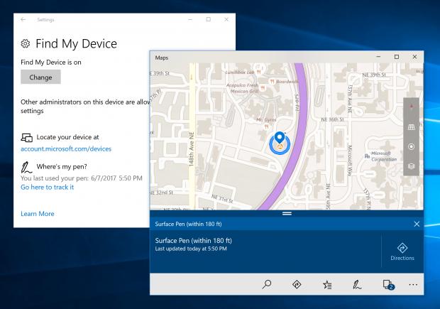 Windows Build 16215 - Funktion zum Finden des Stylus (Bild: Microsoft)