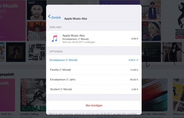 Apple Music Abooptionen (Screenshot: Golem.de)