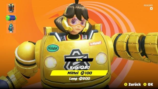 Das Minispiel zum Freischalten von Handschuhen kostet Arms-Münzen. (Bild: Nintendo/Screenshot: Michael Wieczorek/Golem.de)