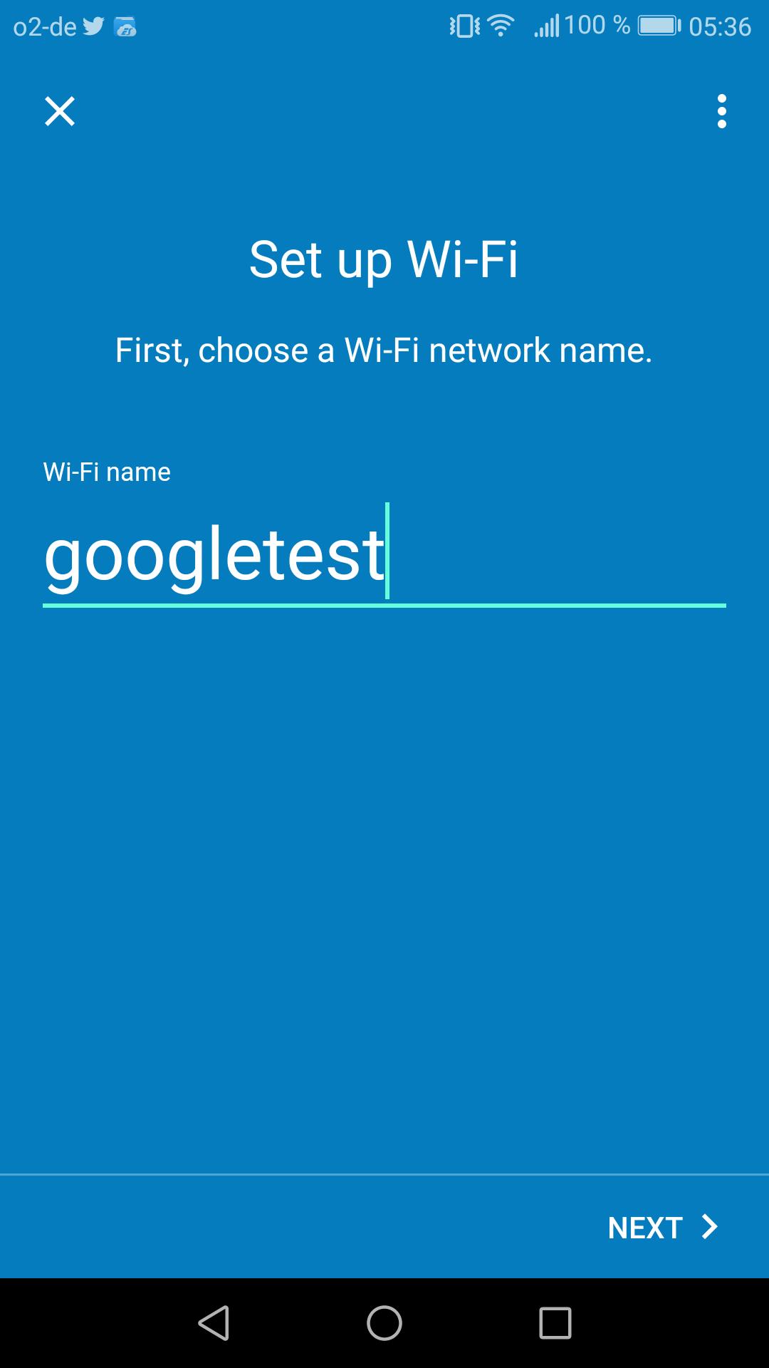 Google Wifi im Test: Google mischt mit im Mesh - Das neue WLAN bekommt einen Namen und ein Kennwort. (Google/Screenshot: Golem.de)