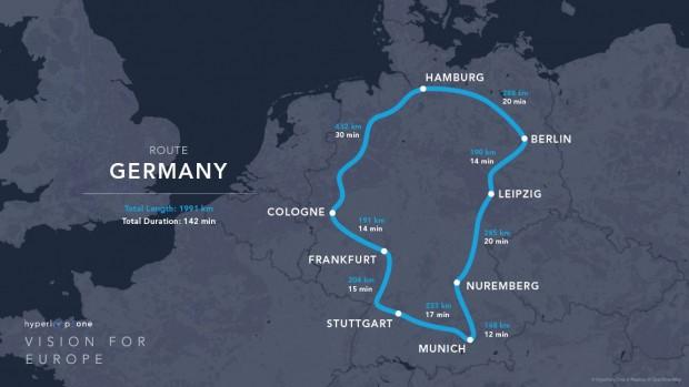 Die Deutschland-Trasse: ein knapp 2.000 km langer Rundkurs (Bild: Hyperloop One)