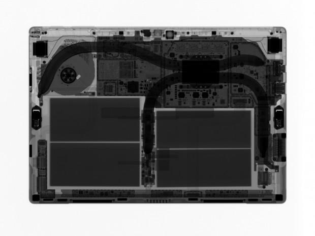Röntgenbild des Surface Pro mit i7 und Lüfter (Bild: iFixit)