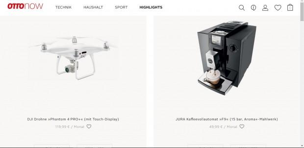 Übersichtlich: Das Angebot von Ottonow umfasst rund 100 Produkte. (Screenshot: Martin Wolf/Golem.de)