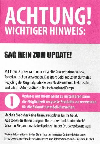 Der Flyer von Tintenmarkt.de (Bild: Tintenmarkt.de, Scan: Andre Kramer)