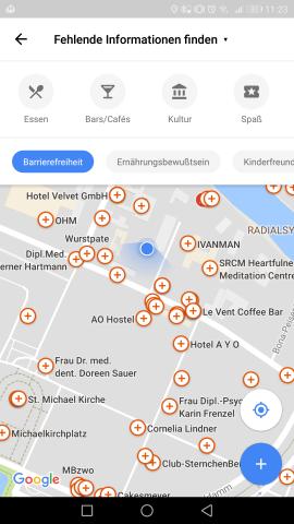 Die Übersicht mit Orten, zu denen Informationen zur Barrierefreiheit fehlen. (Screenshot: Golem.de)