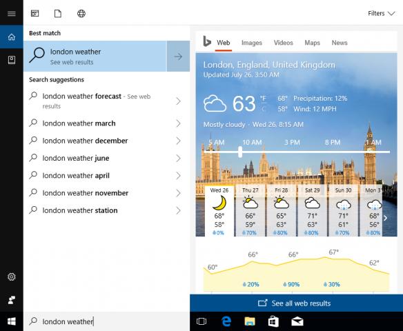 Cortana zeigt Suchergebnisse im Startmenü an. (Screenshot: Microsoft)