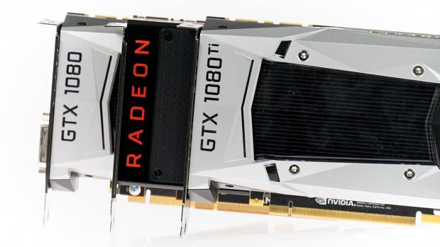 Die Vega 64 positioniert sich zwischen der Geforce GTX 1080 und der Ti-Version. (Foto: Marc Sauter/Golem.de)