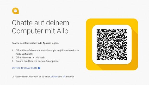 Um die Weboberfläche von Allo nutzen zu können, müssen Nutzer einen QR-Code mit der App einscannen. (Screenshot: Golem.de)