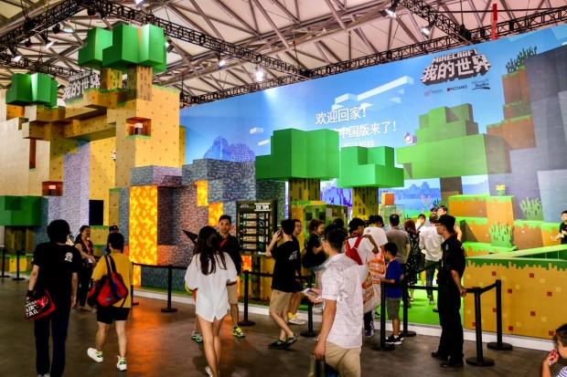 Am wenig interaktiven Stand von Minecraft war nicht so viel los... (Foto: P. Steinlechner / Golem.de)