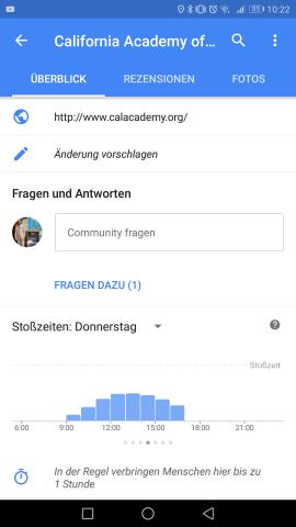 Die Frage-Antwort-Sektion von Google Maps (Screenshot: Golem.de)