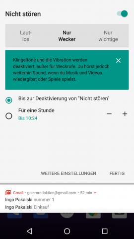 Das Untermenü für den Nicht-Stören-Modus öffnet sich in den Schnelleinstellungen, wenn auf den Text getippt wird. (Bild: Google/Screenshot: Golem.de)