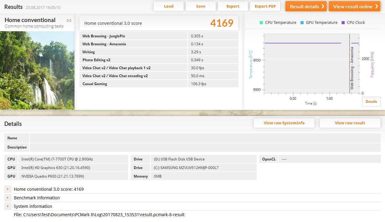 Lenovo Thinkstation P320 Tiny im Test: Viel Leistung in der Zigarrenschachtel - Die Leistung des Systems ist gut, etwa doppelt so schnell wie ein vergleichbares Notebook.<br>(Screenshot: Oliver Nickel/Golem.de)