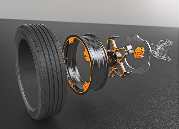 Das zweiteilige New Wheel Concept senkt das Gewicht von Rad und Bremse und reduziert die Servicekosten durch die Lifetime-Bremsscheibe und einfachen Belagwechsel. (Bild: Continental)