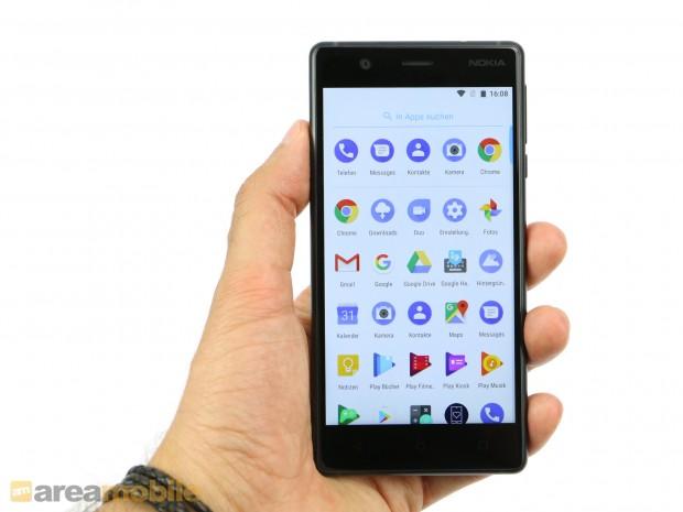 Wie die anderen neuen Nokia-Smartphones liefert HMD Global auch das Nokia 3 mit purem Android aus. (Bild: Areamobile)