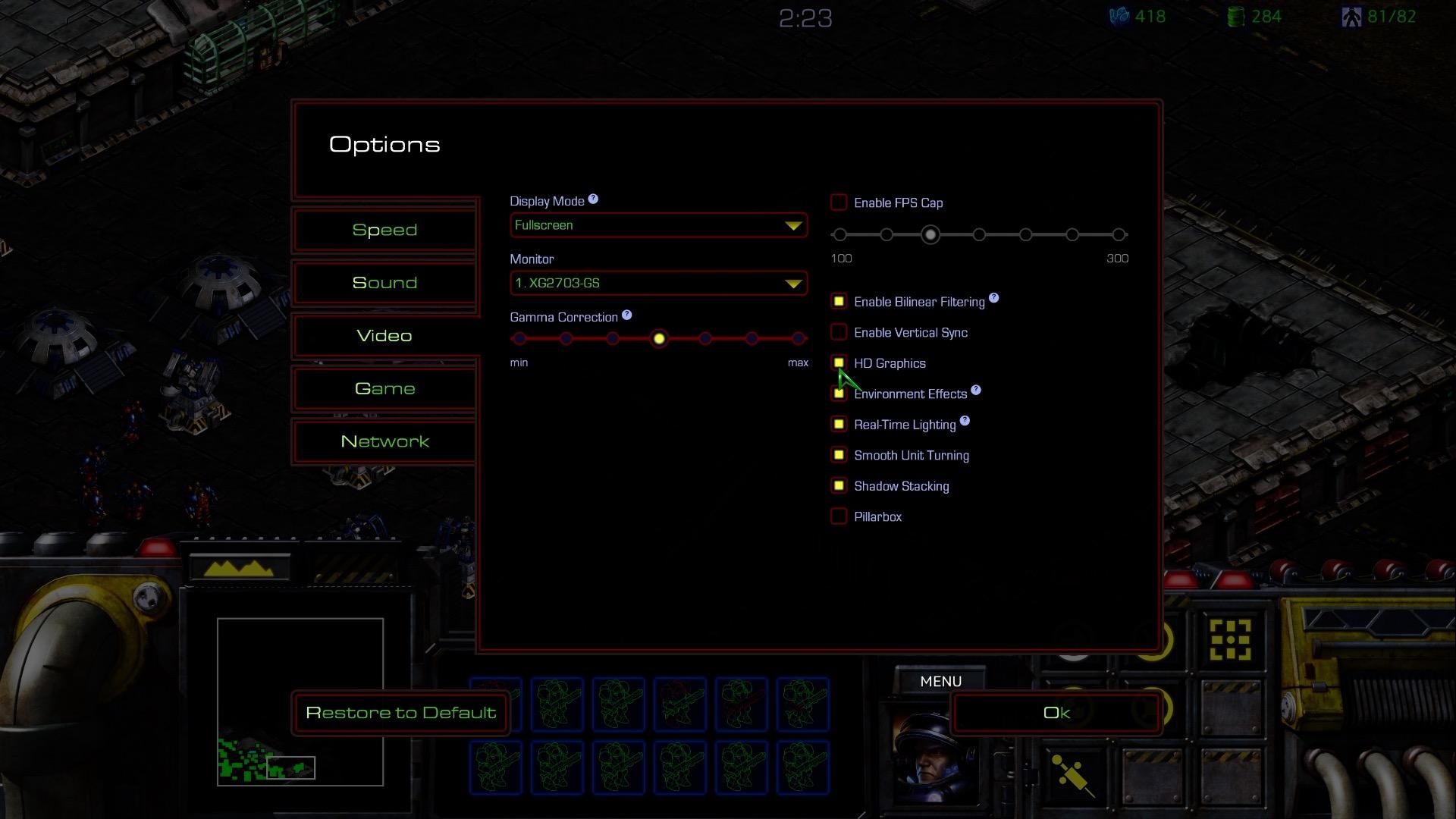 Starcraft Remastered im Test: Klick, klick, klick, klick, klick als wär es 1998 - Die Optionen in Starcraft Remastered (Screenshot: Michael Wieczorek/Golem.de)