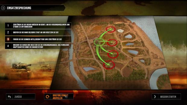 Im Missionsbriefing gibt es erste Befehle. (Screenshot: Golem.de / Bild: Kalypso Media)