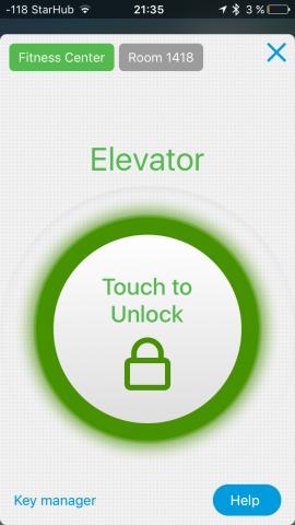 Die App zeigt uns an, was geöffnet werden kann und weiß, dass wir gerade im Fahrstuhl stehen. (Screenshot: Golem.de)