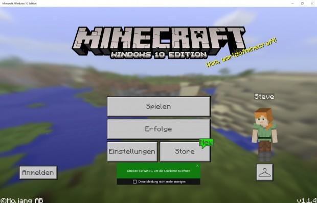 Minecraft ist eines der wenigen Spiele, die es für den Store und als Win32-App gibt. (Screenshot: Oliver Nickel/Golem.de)