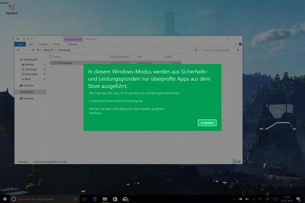 Dieser Bildschirm beschreibt Windows 10 S schon ganz gut. (Screenshot: Oliver Nickel/Golem.de)
