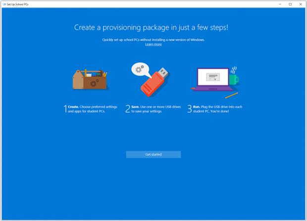 Mit der Set-Up-PC-for-School-App können viele PCs einheitlich konfiguriert werden. (Bild: Microsoft)