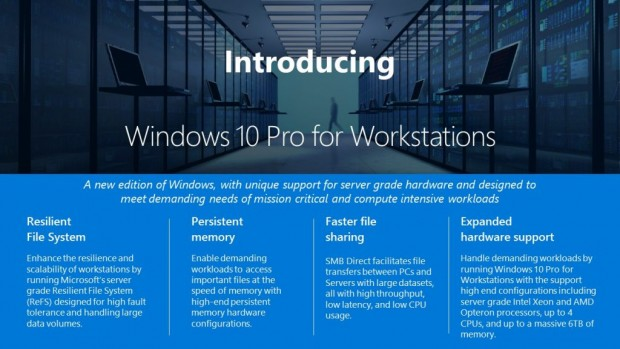 Windows 10 Pro for Workstations kommt mit mehreren neuen Funktionen.