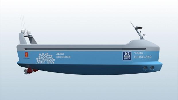 Der autonome, elektrisch betriebene Frachter Yara Birkeland. Motorgondeln und Seitenstrahlruder erleichtern das Manövrieren. (Bild: Kongsberg)