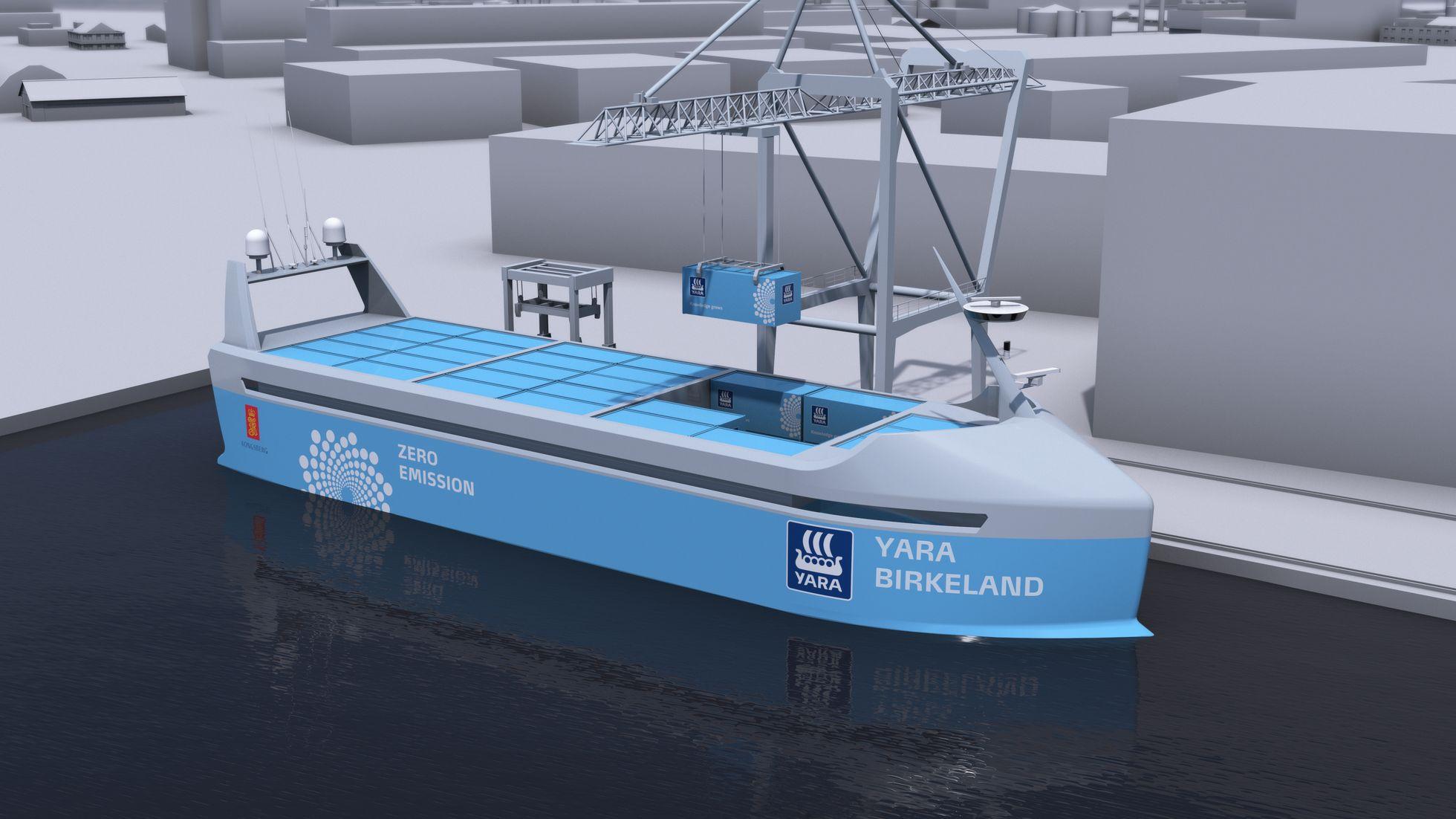 Schifffahrt: Yara Birkeland wird der erste autonome E-Frachter - Be- und Entladen erfolgt automatisiert. (Bild: Kongsberg)