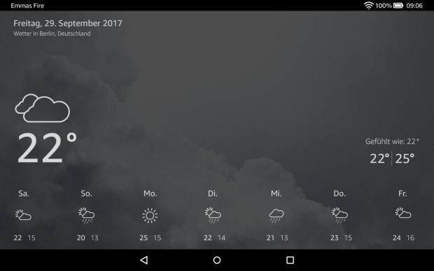 Der Alexa-Wetterbericht auf dem Fire HD 10 (Bild: Amazon)