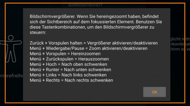 Bei Aktivierung der Bildschirmlupe werden die Tastenbefehle angezeigt. (Bild: Amazon/Screenshot: Golem.de)
